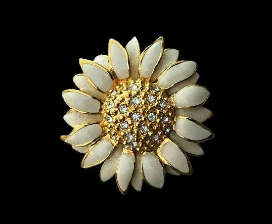 White enamel Swarovski crystals sunflower gold plated brooch pendant. 5 cm