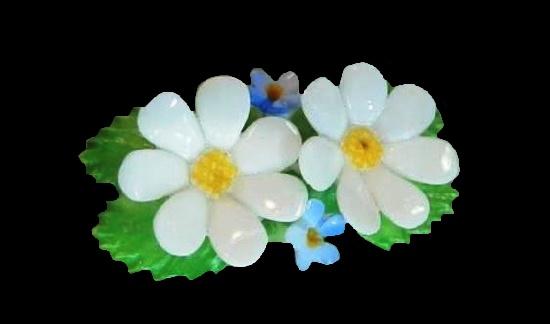 White flower brooch. 1940s