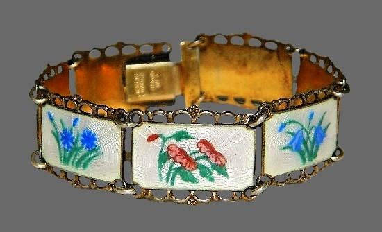 Wild flowers design bracelet. Sterling silver, guilloche enamel