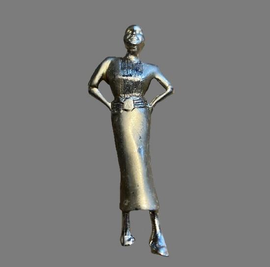 Woman silver tone pin