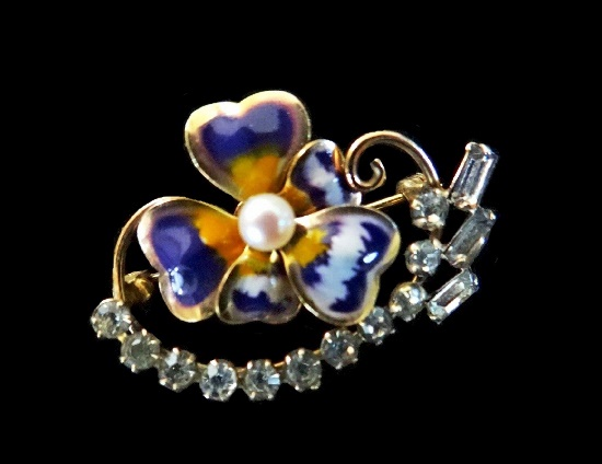 12K Gold Filled enameled pansy flower brooch pin with rhinestones