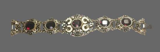 1960s bracelet. Metal alloy, rhinestones, enamel
