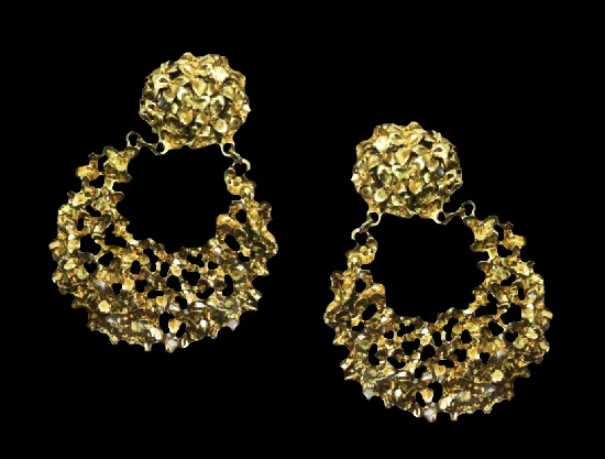 1980s floral statement clip on earrings of gold tone