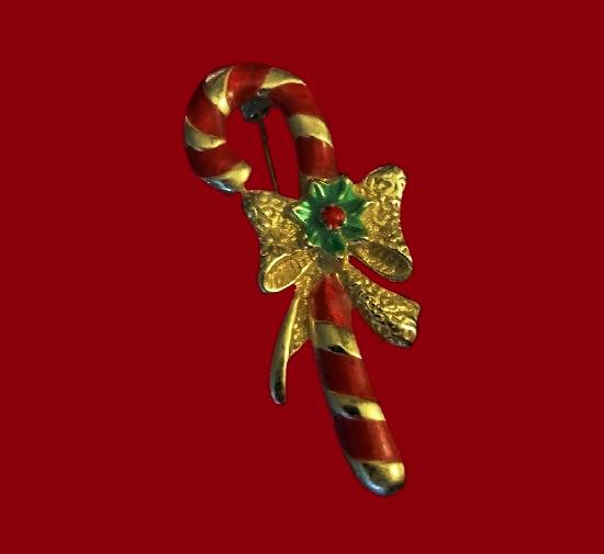 AAi signed gold tone enamel brooch