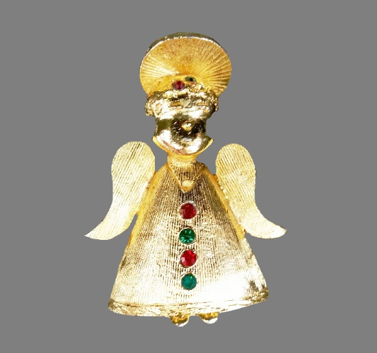 Angel brooch pin of gold tone, rhinestones