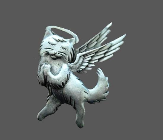 Angel cat pewter brooch pin
