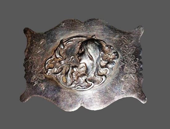 Art Nouveau sterling silver brooch. 6cm. 1904