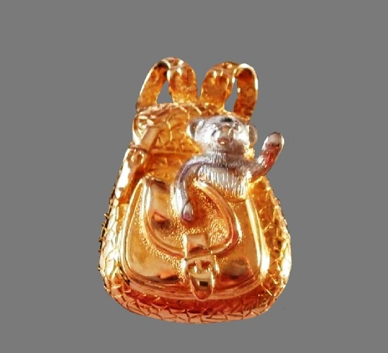 Backpack with Bear gold and silver plated brooch