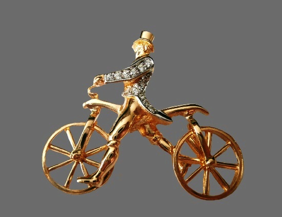Bicyclist gold plated rhinestones brooch
