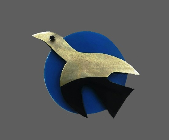 Bird brooch. Galalith, chrome. Vintage