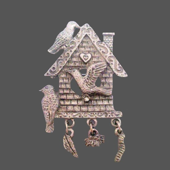 Bird house pewter pin with charms. 1980s