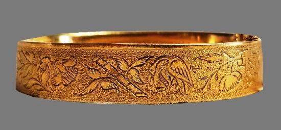 Birds and flowers design etched 12 K gold filled bangle bracelet