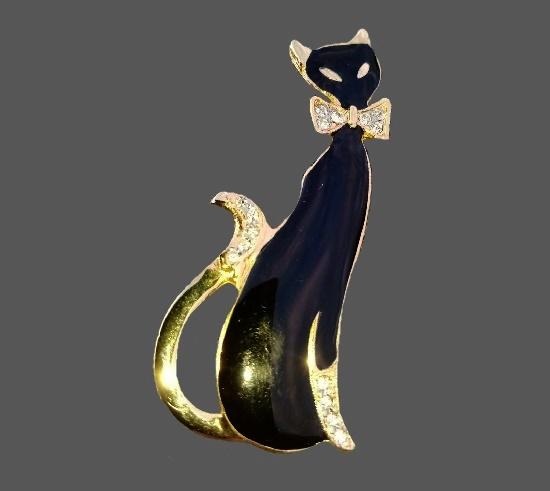 Black cat vintage brooch. Gold tone, rhinestones, enamel