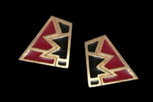 Black enamel gold tone clip on earrings. 1980s