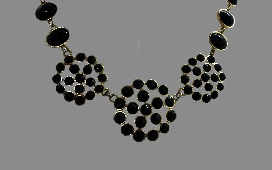 Black faceted rhinestones gold tone necklace