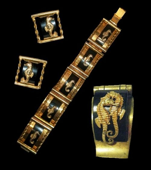 Black galalith brass seahorse bracelet and earrings. 1930s