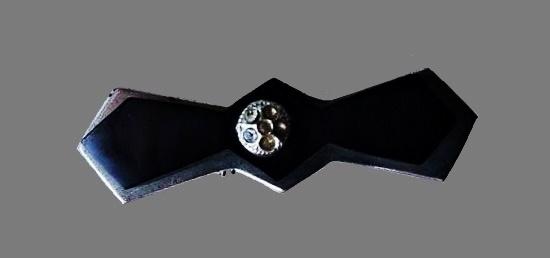 Black galalith rhinestone brooch. 1920s