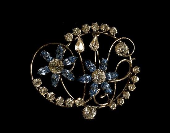 Blue crystal flower sterling silver brooch