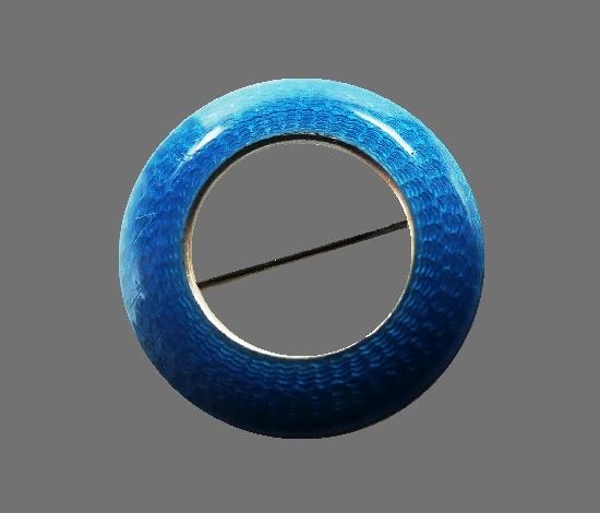 Blue enamel sterling silver circle pin. 1914
