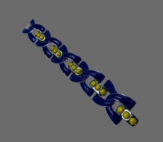 Blue enamel yellow glass silver tone bracelet