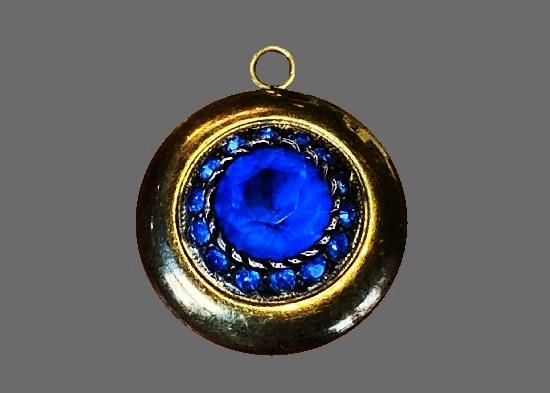 Blue rhinestone gold filled round shaped pendant