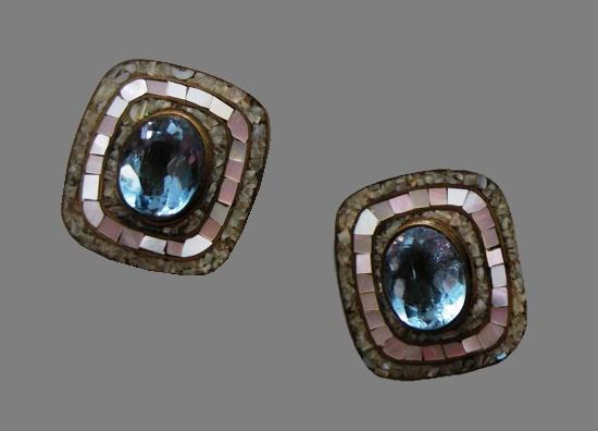 Blue topaz, crushed gemstones, brass earrings. 1970s