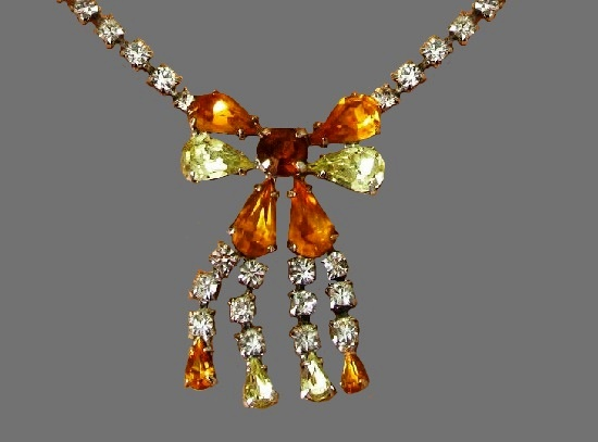Bow design yellow and clear rhinestone rhinestones necklace