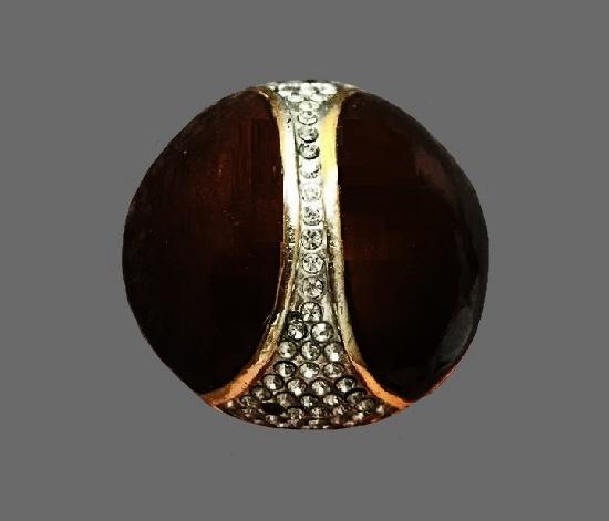 Brown enamel gold tone rhinestones ring