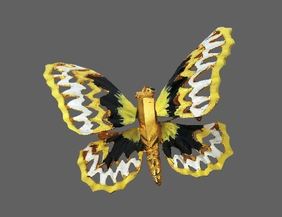 Butterfly brooch pendant. Gold tone, enamel, art glass