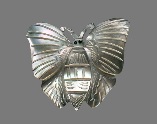 Butterfly mop carved pin. 1970s