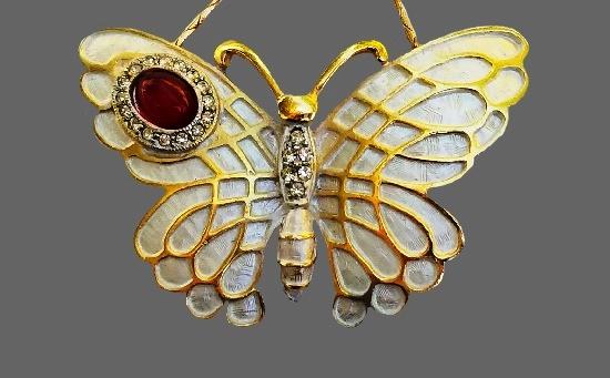 Butterfly pendant. Gold tone metal, rhinestones, enamel, glass cabochon