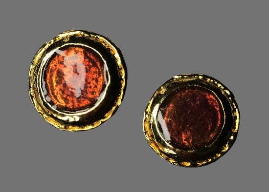 Button style gold plated red enamel earrings
