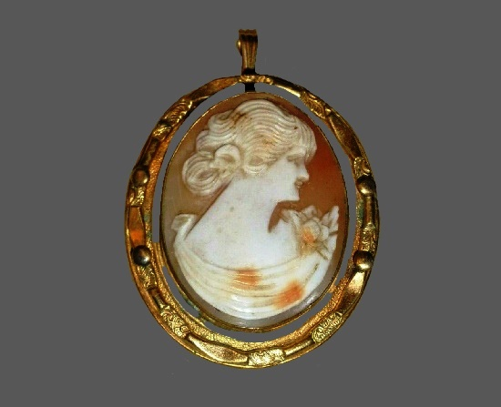 Cameo brooch pendant. Gold filled, carved shell