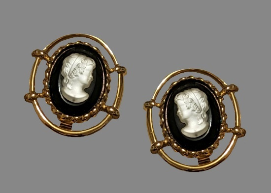 Cameo clip on earrings. Gold filled, carved shell