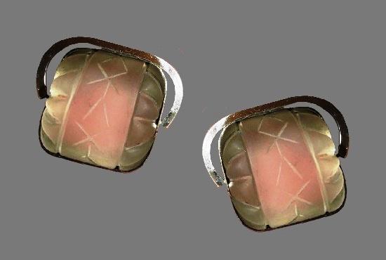 Carved quartz sterling silver earrings. 1970s