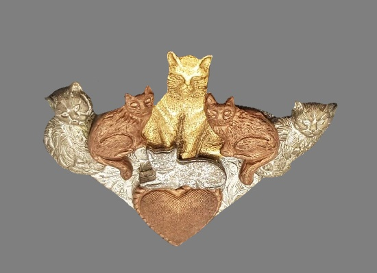 Cat and kittens brooch pin of gold, copper and silver tone textured metal. 1990s