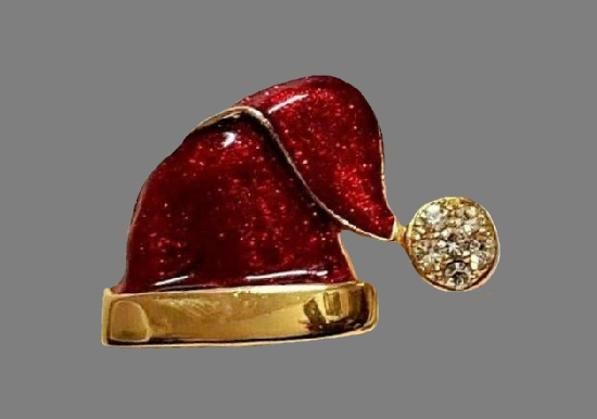 Santa Hat pin. Gold tone, enamel, rhinestones. 3.5 cm