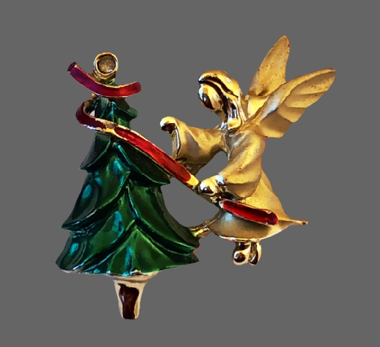 Christmas Tree with Angel vintage lapel pin. Gold tone metal alloy, enamel