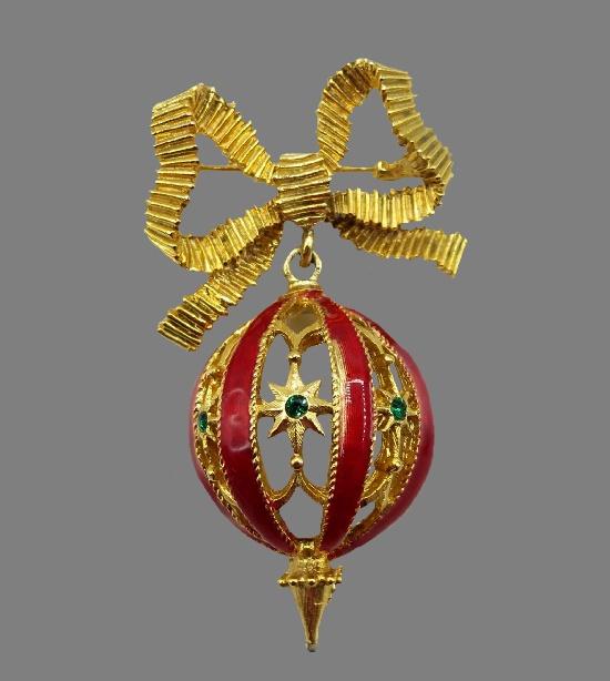 Christmas ball decoration brooch pin. Gold tone metal alloy, enamel, rhinestones