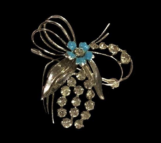 Clear rhinestone blue enamel sterling silver flower pin