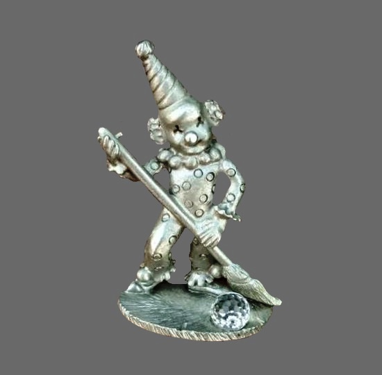 Clown pewter and crystal figurine. 1987