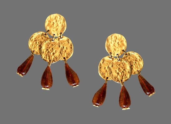 Coin gold plated amber gripoix glass charm dangle clip on earrings. 1970s