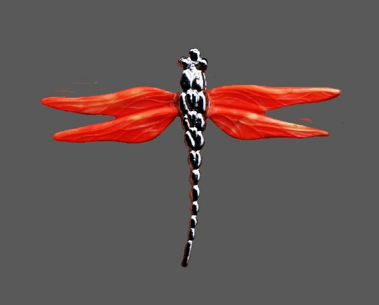 Coral galalith dragonfly brooch. 6 cm. 1930s