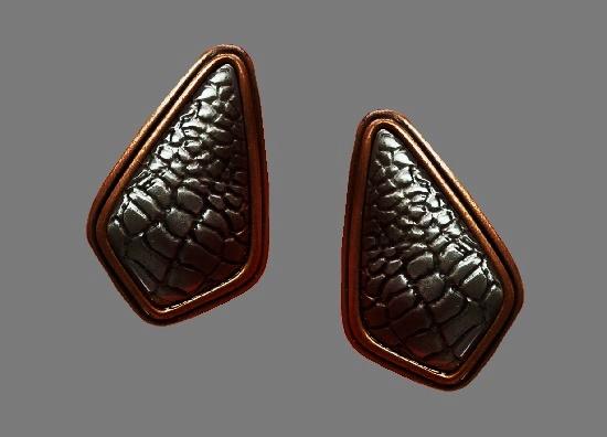 Crocodile patternt brass clip on earrings