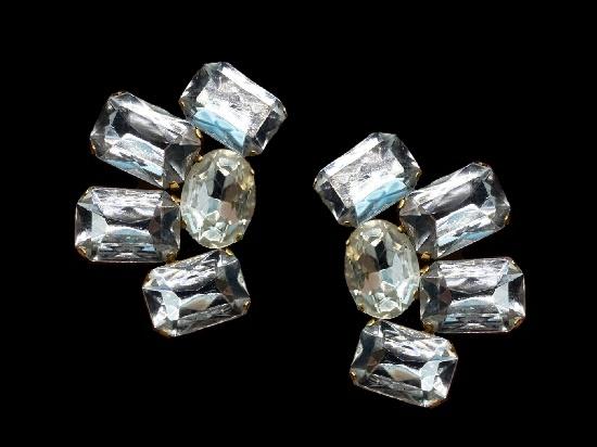 Crystal clip on earrings