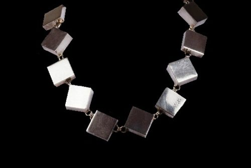 Cube links silver plated necklace. Made for Marie Paris. 1980s