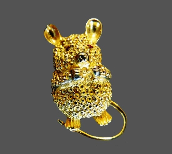 Cute mouse gold tone brooch pin