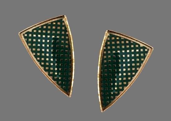 Dark green and gold triangular earrings
