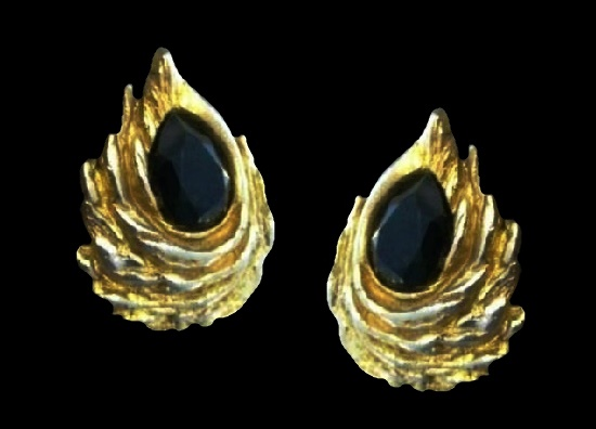 Dark red glass cabochon gold tone clips