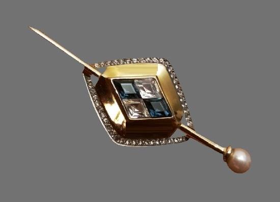 Diamond pattern gold plated fayx pearl crystal brooch